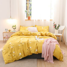 Modern Yellow Printed Bedding Set Duvet Cover Pillowcase Twin Queen King Size