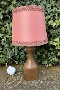 ORIGINAL VINTAGE RETRO MID CENTURY HAND TURNED WOODEN TABLE LAMP ~ SHABBY CHIC