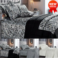 3 Piece Luxury Jacquard Bedspread Quilted Comforter Bed Throw & 2 Pillow Sham UK