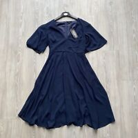 Boohoo Navy Blue Skater Dress Short Sleeve Floaty Angel Sleeve - Size UK 10 BNWT
