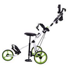 Foldable 3 Wheel Push Pull Golf Club Cart Trolley Seat Stool Umbrella Holder Bag