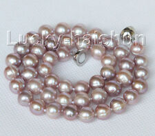 """luster natural 17"""" 10mm round purple pearls necklace magnet clasp j10409"""