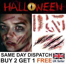 Halloween Zombie Scars Tattoos Fake Blood Scab Scar Wound Costume Make-Up Kit UK