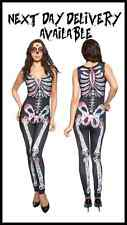 NEW Sexy Fancy Dress Costume Halloween CATSUIT day of the dead SKELETON outfits