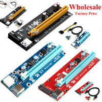 USB 3.0 PCI-E Express 1x To 16x Extender Riser Card Adapter Power BTC Cable US K