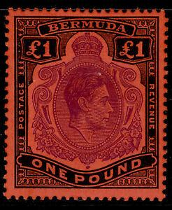 BERMUDA GVI SG121e, £1 bright violet & black/Scarlet, M MINT. Cat £325.