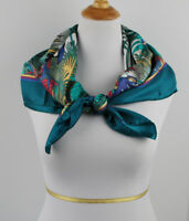 """Vintage  Tropical parrots palms  Silk Twill Scarf 34"""" X 34"""" made in Italy Teal"""