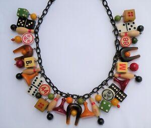 Vintage pieces bakelite wood celluloid plastic game pieces dice charm necklace