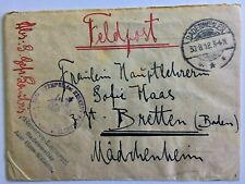 "Germany 1918 WWI ""turned"" cover re-used as Feldpost cover Badenweiler to Bretten"