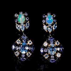 One of a kind SET Blue Topaz Earrings Silver 925 Sterling   /E58186