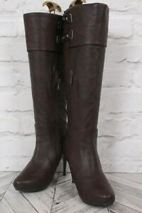 UN-BRANDED BROWN Faux Suede Leather Stiletto Knee High WINTER Boot EU 38 UK 5