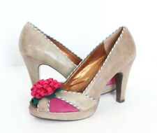 POETIC LICENCE Floral Peep-Toe Platforms High Heels 10 Pink Leather Retro