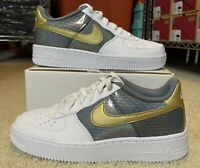 NIKE AIR FORCE 1 LOW DRAGON SCALES WHITE GREY GOLD GS SIZE 6.5Y CI3910-100 AF1