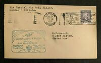 1928 London Canada to Quebec Que First Flight Air Mail Cover