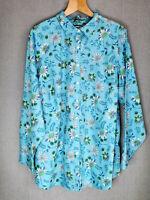 Lands' End womens blouse blue botanical floral No Iron Supima plus Size UK 28