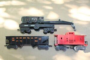 Marx Trains 21429 LV Hopper 5590 NYC Crane 4427 Santa Fe Caboose Freight Cars JB