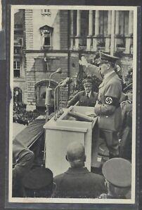 Hitler Making Speech  postcard 1942 anti-Soviet Exposition pictorial cancel