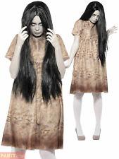 Ladies Evil Spirit Costume +Wig Poltergeist The Ring Halloween Fancy Dress Ghost