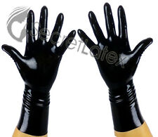 LATEX BLACK GUM SHINY WRIST GLOVES HANDS RUBBER FETISH SKIN COSPLAY ADULT BODY