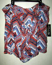 Womens Plus 4X Lined Belted Print Short Shorts With Pockets New With Tags