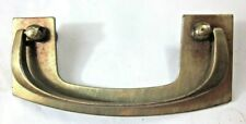 1 Vintage Mid Century Modern Brass Drop Bail Pull Handle: Drawer Holes=3-1/2""