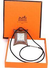 Authentic HERMES Paris Touareg Pendant Leather & Silver Necklace Chain France