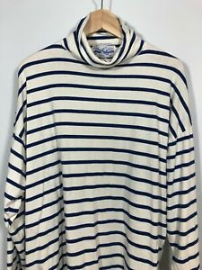 Perry Ellis Turtleneck VINTAGE Blue White Stripe 1980s Knit Mens Cotton Top