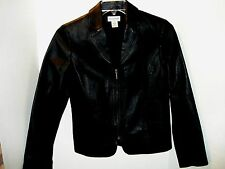 KIM ROGERS LADY'S  LEATHER JACKET   BLACK   SIZE S   DECORATIVE STITCHING