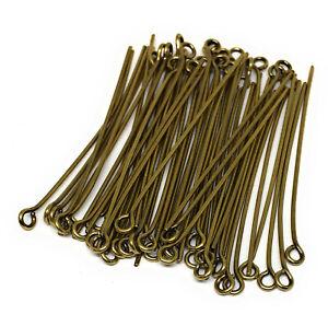 antiqued brass plated eyepins 1.5 inch 21 gauge