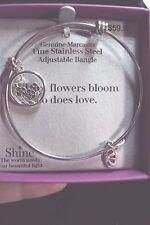 Marcasite flower charm flowers love stainless steel bangle adjustable bracelet