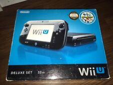 Nintendo Wii U Deluxe 32GB Black Handheld System w/ Box & Nintendo Land Game