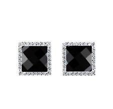 Men's Silver Stud Earrings Black Agate Square Shape Sparkling Earrings Pouch