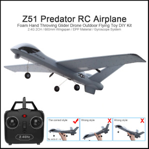 RC Airplane Plane Z51 20 Minutes Fligt Time Gliders 2.4G with LED Toys Kids Gift