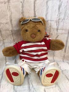 Build A Bear Brown Bear Wearing Sunglasses Shorts Shirt Tennis Shoes