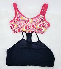 Lot Of 2 Womens Sports Bra Size M Adidas Gap Fit Black Multicolor Racerback