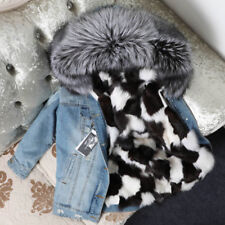 Women Real Fox Fur Collar Hood Coat Fox Lining Denim Jacket Parka-Christmas Gift