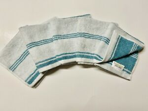 Threshold Set of 5 Face Washcloths Trout Stream Teal and White Striped NWT