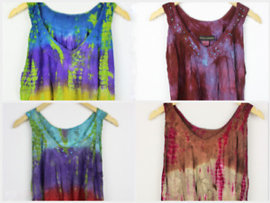 Hippie Gypsy Boho Tie Dye Gypsy Floral Embroidered Crochet Trim Top SIZE 8 -20