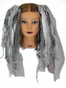 Dreadful Falls Silver Glitter Ribbon Gothic Fairy Hair Falls Belly Dancing