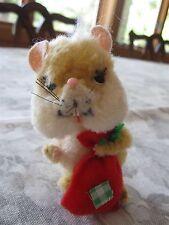 "Vintage Ara Austria Wool Plush Chenille Yellow Chipmunk w Red Sack 3 1/2"""