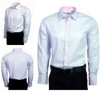 Berlioni Men's French Convertible Cuff Comfort Fit Plaid Dress Shirt White Pink