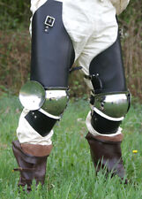 Battle Merchant Kniekacheln + Lederdiechlinge Paar Plattenrüstung Knie Rüstung