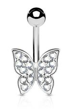 TITANIUM - Small BUTTERFLY Belly Bar - Choose Colour - 6mm 8mm 10mm 12mm 14mm