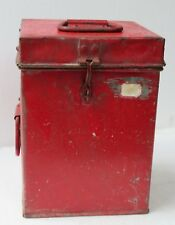 VTG TIN CONTAINER kitchen grain storage original red color handle on side & top