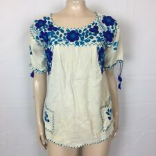 70s Vintage Mexican Oaxacan Women's shirt Floral Cotton Embroidered Peasant E4