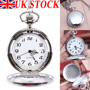 Vintage Quartz Pocket Watch With Chain Classic Silver Fob Brand New Watches Mens