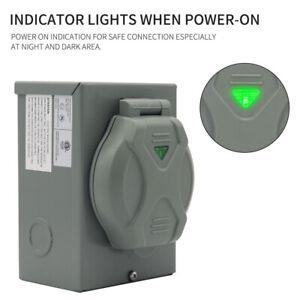 Outdoor Use RV 30 Amp Generator Power Inlet Box W/ LED Light 125Volt ETL Listed
