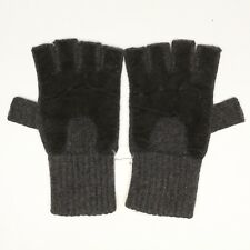 Bloomingdales Mens Fingerless Gloves S/M Charcoal Gray Cashmere Knit Black Suede