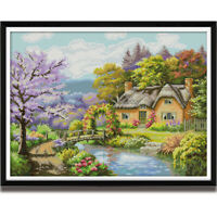 Counted Cross Stitch Kit Cabin Landscape Pattern Printed Unprinted 14CT 11CT