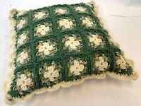 "Vintage 14"" Square Handmade Cream Green Flower Floral Crochet Knit Throw Pillow"